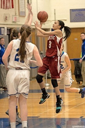 Junior Trinity Hudson led Glen Cove with 18 points but the Big Red fell to Division, 75-47, in a Nassau Class A playoff game on Feb. 14.