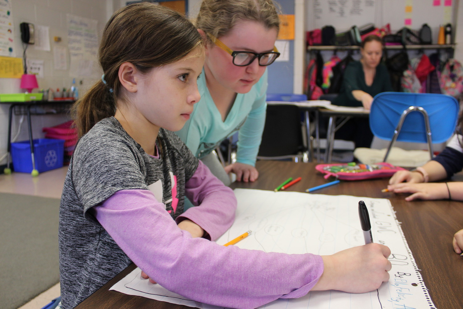 Fourth-graders Emma Cooney and Felicity Caracciolo worked together to make a bubble map comparing and contrasting George Washington Carver and Barack Obama during Black History Month lessons at Rhame Avenue Elementary School.