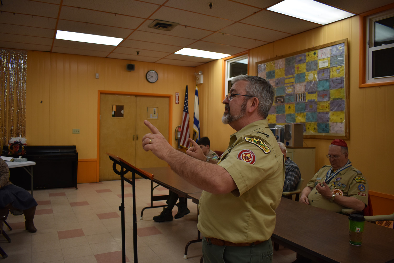 District Executive Bill Scanlan answered parents' questions at the Gural JCC Cub Scout registration meeting on Feb. 13.