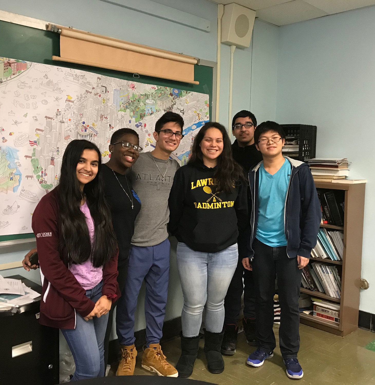awrence High School students conducted high-level research that was presented at the Greater New York Junior Science & Humanities Symposium. From left Anoushka Guha, Ariana Brown, Nicholas Williams, Stacy Portillo, Zaiff Khan and John Chen.