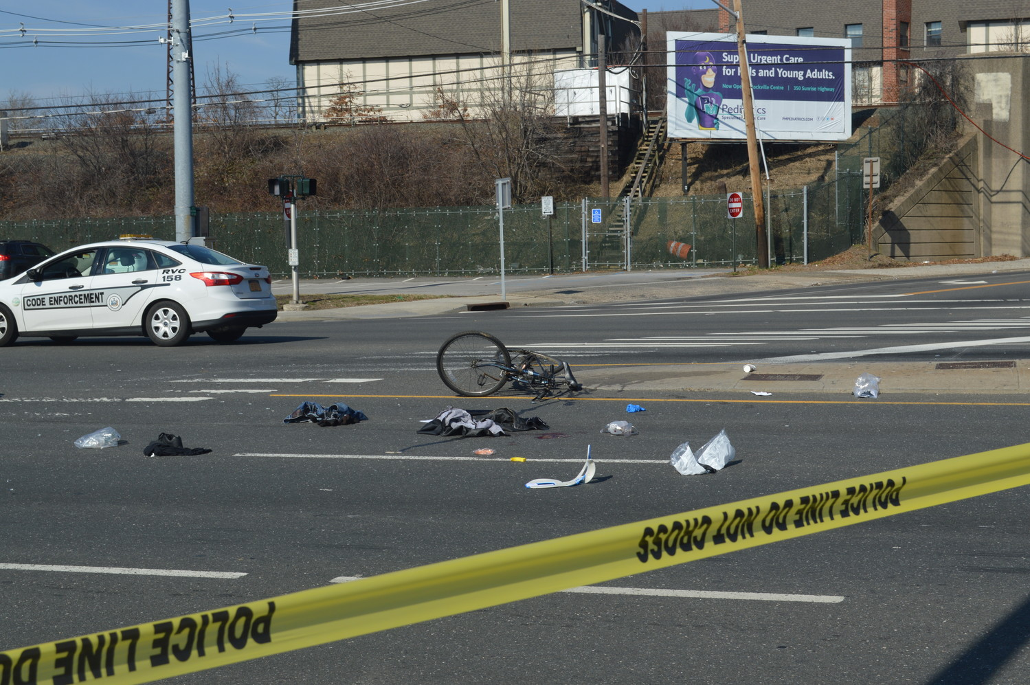 A bicyclist was struck by a car at Sunrise Highway and Long Beach Road on Wednesday morning.