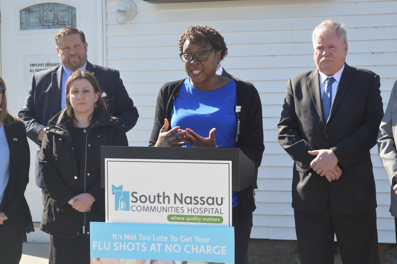 Dr. Joyce Robert, a family medicine physician at South Nassau Communities Hospital, encouraged all residents to get vaccinated at a news conference on Feb 21.