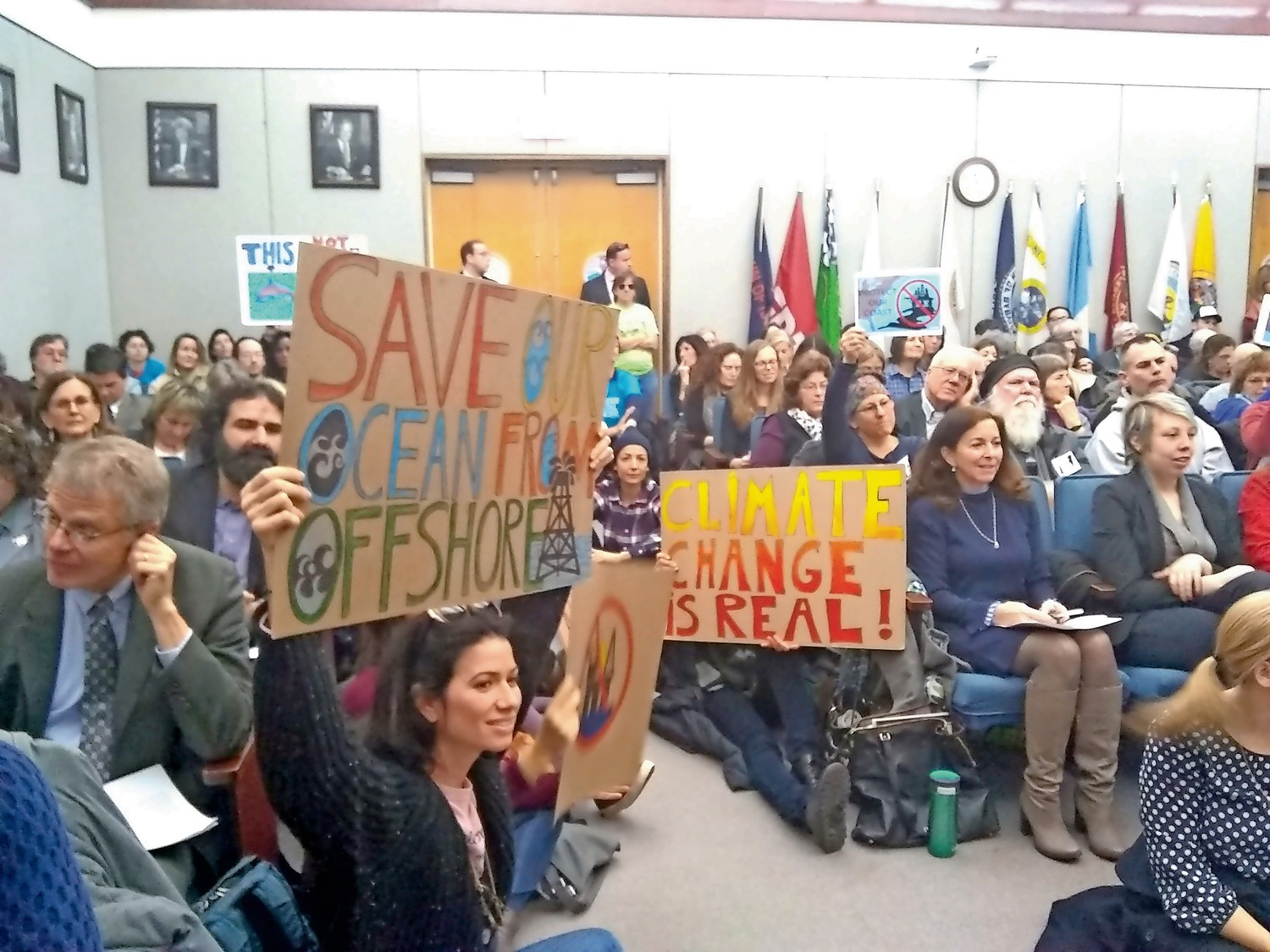 Elected officials, environmentalists and others gathered at the Suffolk County Legislature on Feb. 14 to speak against offshore drilling.