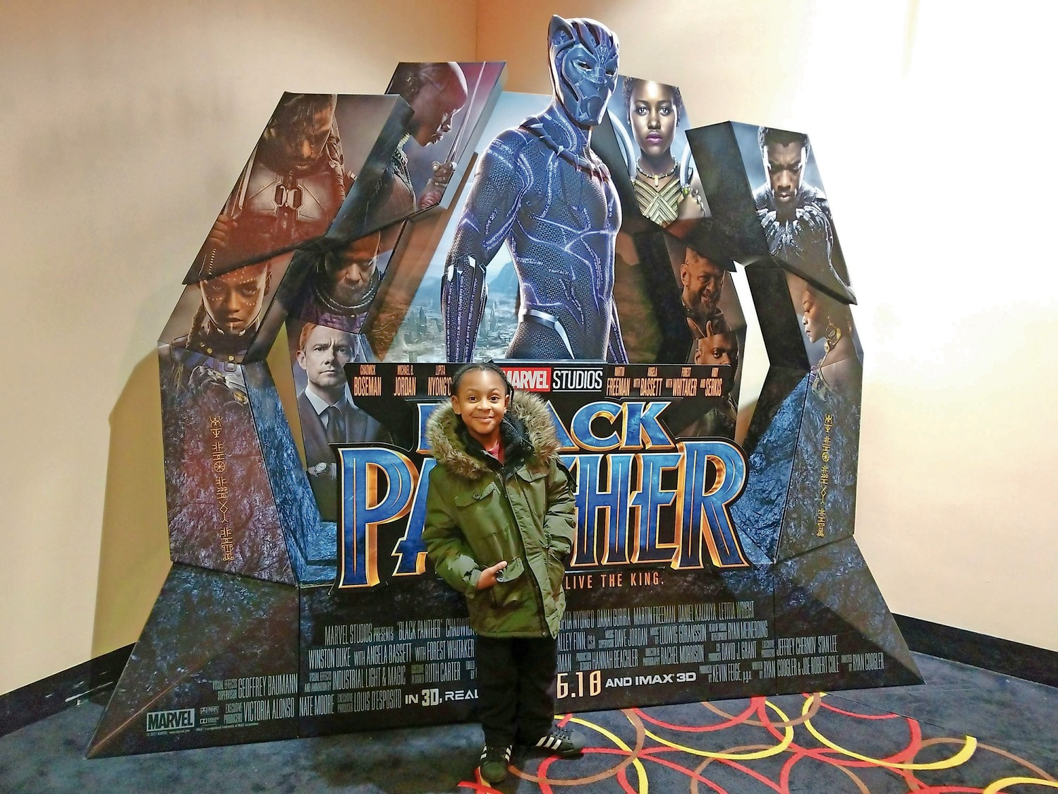 Long Beach resident Mason Streeter, 7, was excited to see the film at Roosevelt Field last week.