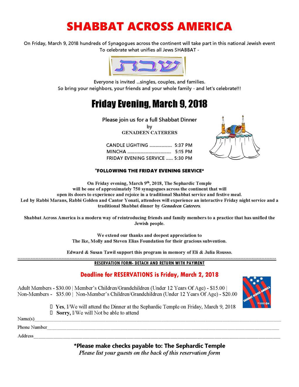 The Sephardic Temple in Cedarhurst will host a Shabbat Across America event on March 9.
