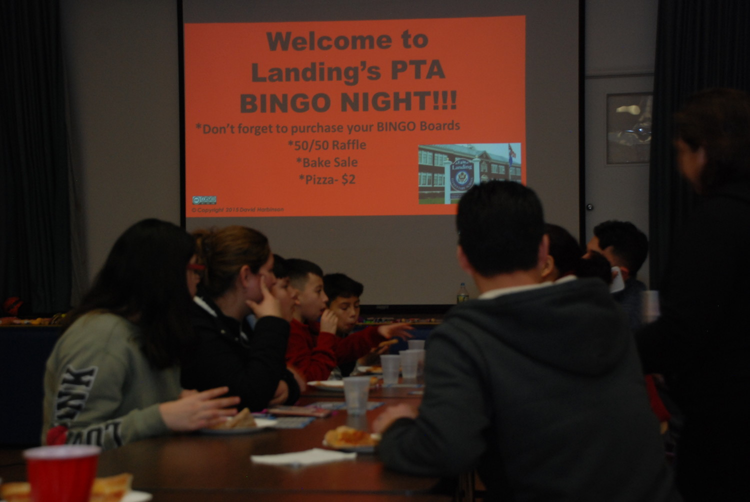 Landing students and parents gathered at the elementary school for a night of bingo and pizza, a fundraiser for the PTA.