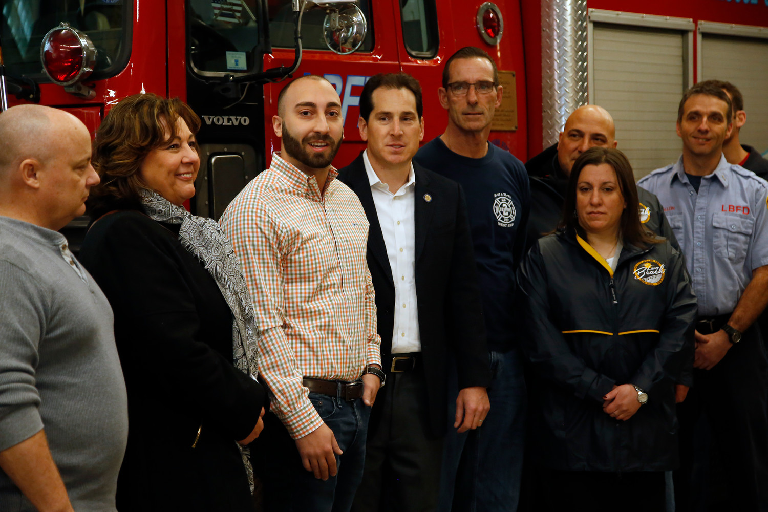 Gaetano Antonacci, of Lindenhurst, third from left, thanked his rescuers for their heroic efforts.
