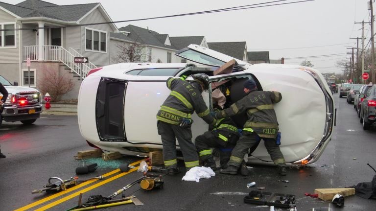 Firefighters removed Antonacci by cutting open the windshield.