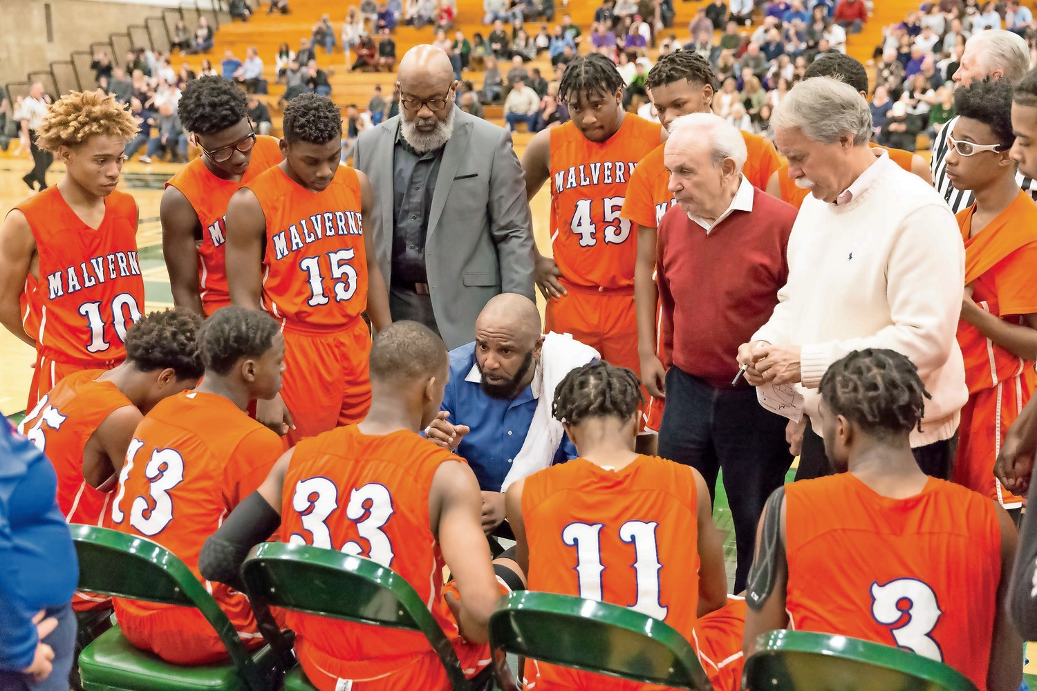 Malverne head coach Darrol Lopez urged his team to play tight, man-to-man defense.