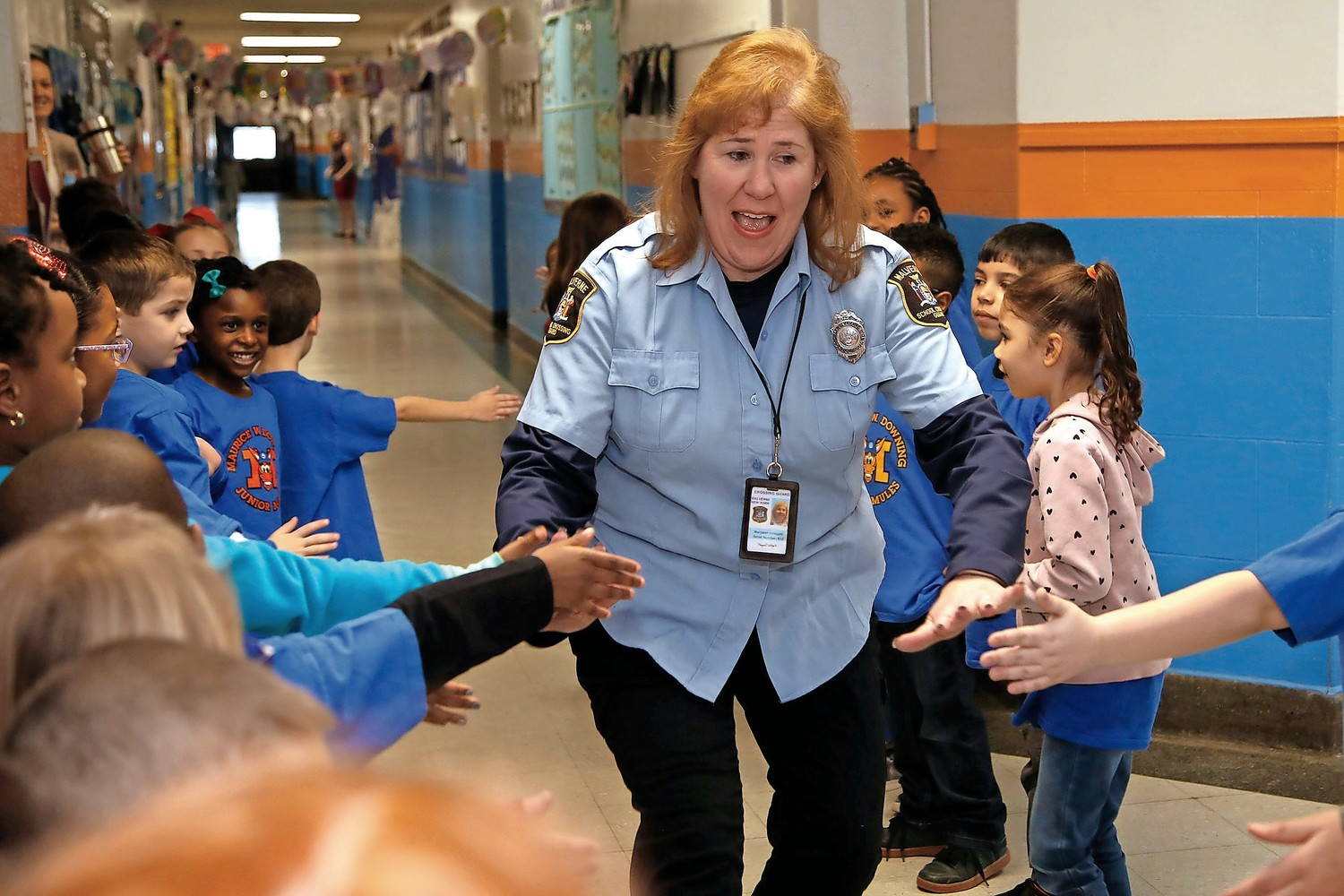 Crossing Guard Margaret Delligatti greeted students at the celebration.