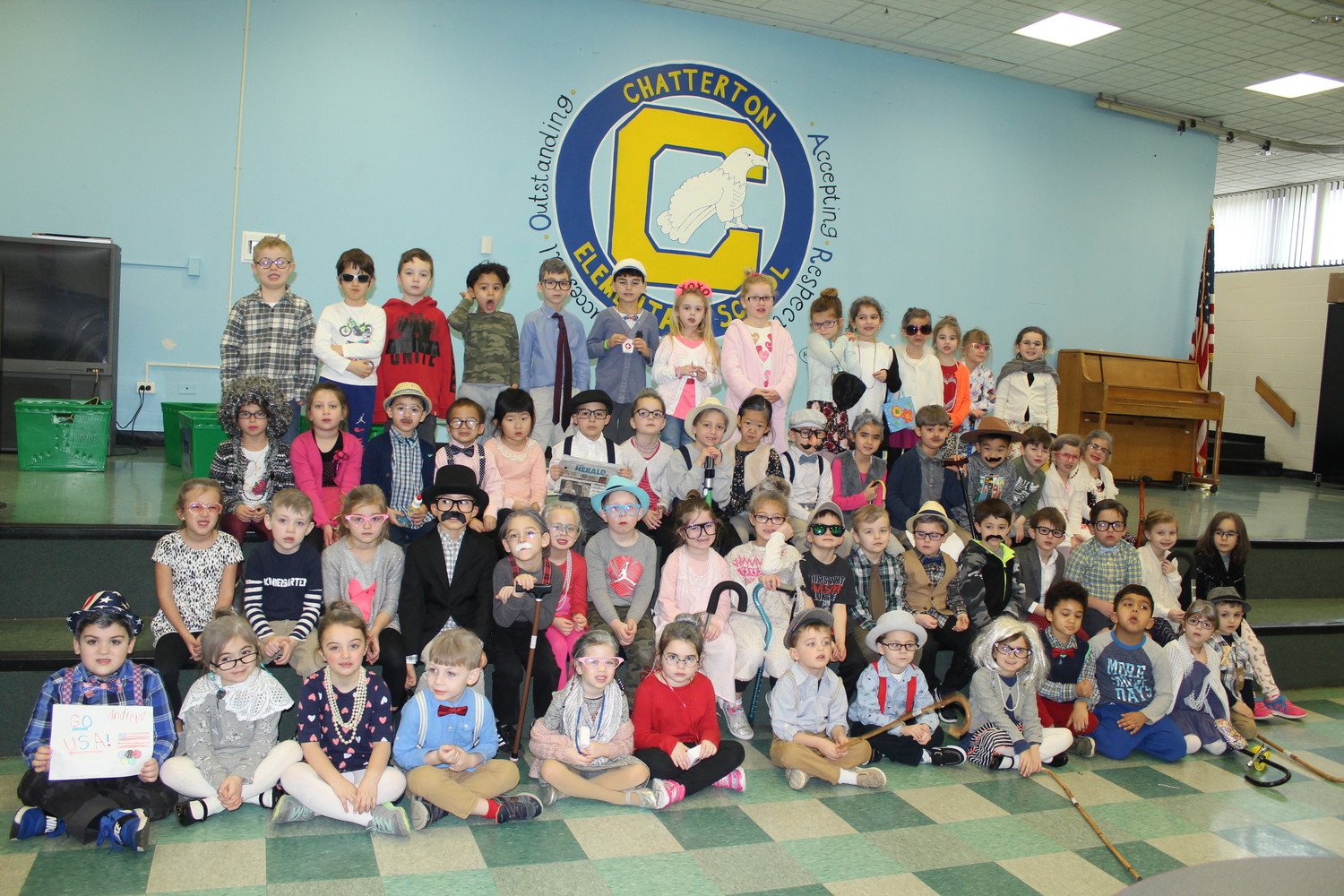 Chatterton kindergartners came to school dressed as centenarians in celebration of their 100th day of school.
