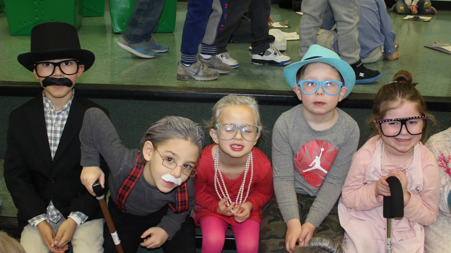 Hats, glasses, canes and grey hair were the fashions of the day at Chatterton on the 100th day of school.