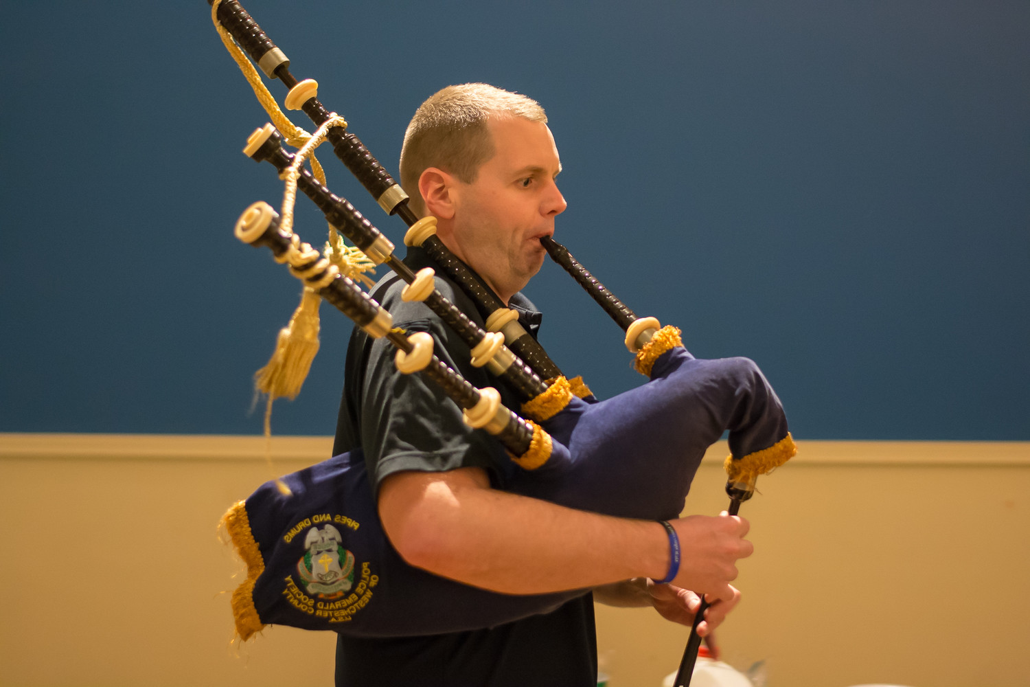 "One of Grand Marshal William Doherty's sons, Ryan Doherty, performed at the ""hooley."" He is an MTA policeman who plays in its pipe band."