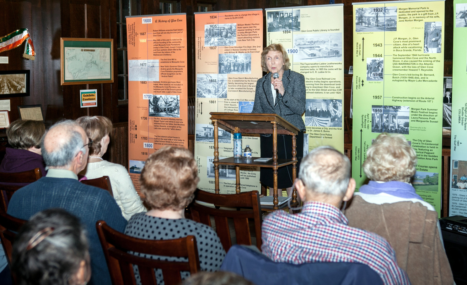 Dr. Millie DeRiggi talked about how her curiosity about her childhood home led her to learn about the North Shore settlers who resided there before her.