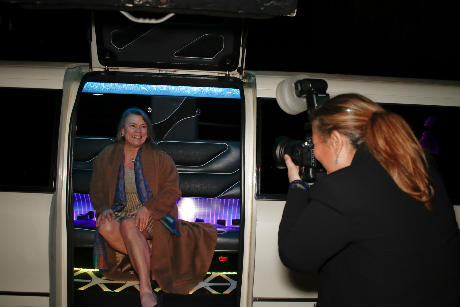 As guests arrived, they were photographed coming out of a limo, rented by the chamber for the evening. Dawn Riley, of Oakcliff Sailing, had her photo taken by Yana Copek.