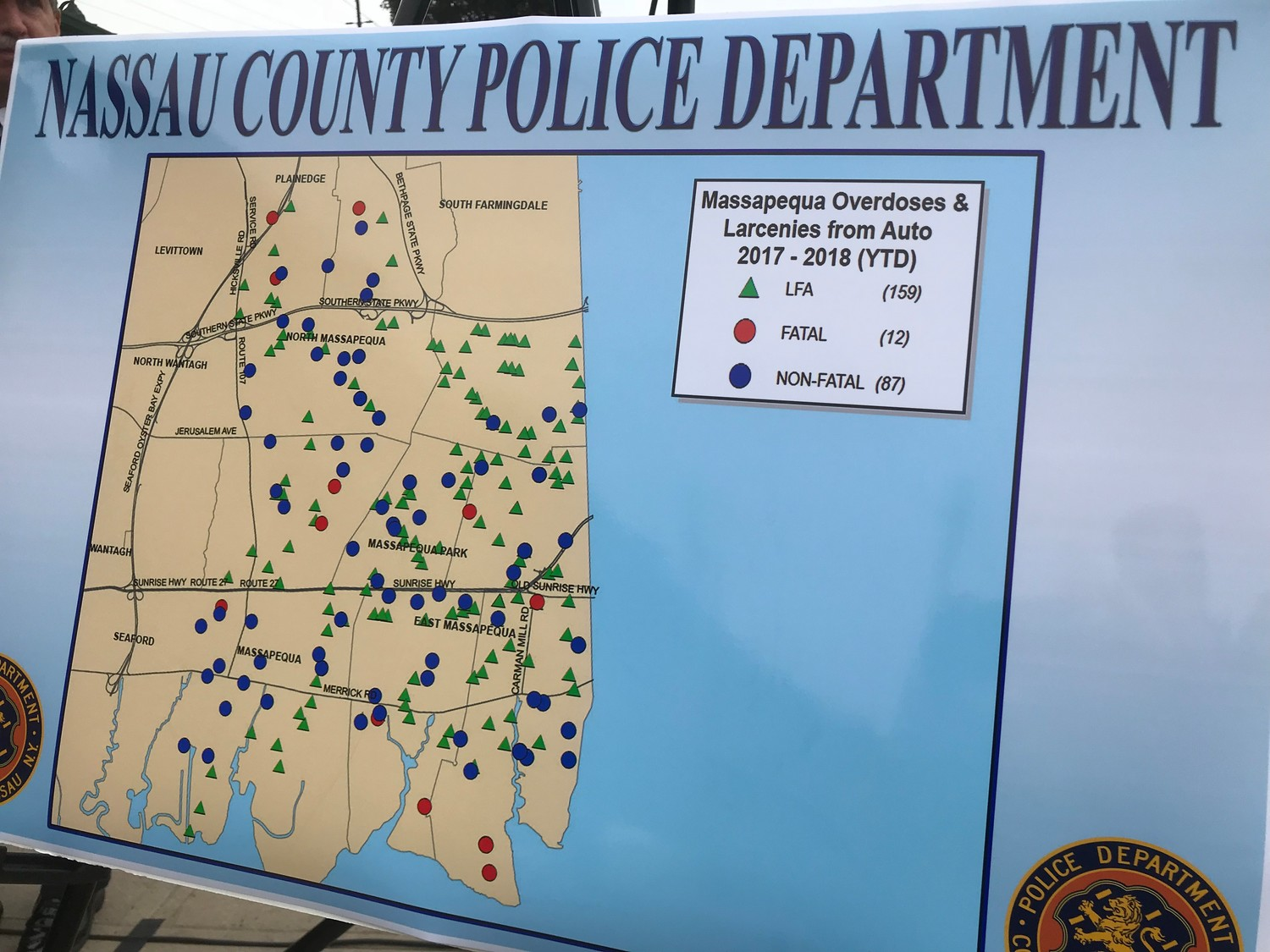 This map of Massapequa shows the information that OD Maps is giving the NCPD. The NCPD layer crimes on top of overdoses, and use to find correlations between crime and overdoses along with areas with a large number of overdose incidents.