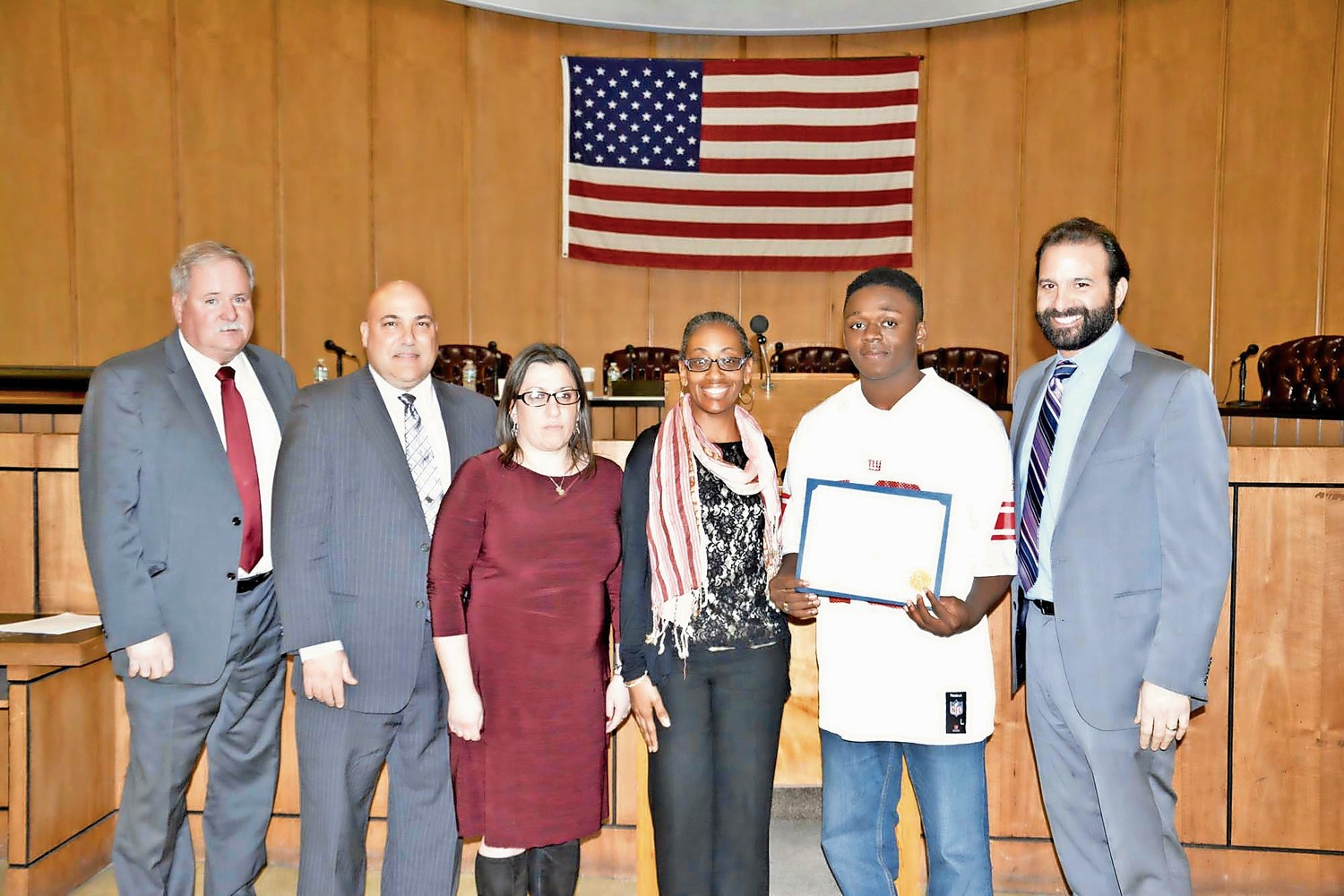 Acting City Manager Mike Tangney, far left, City Councilman John Bendo, Council Vice President Chumi Diamond, Brian Horne, Councilwoman Anissa Moore, and Council President Anthony Eramo at the Feb. 20 meeting, where Horne was honored for his contributions to the community.