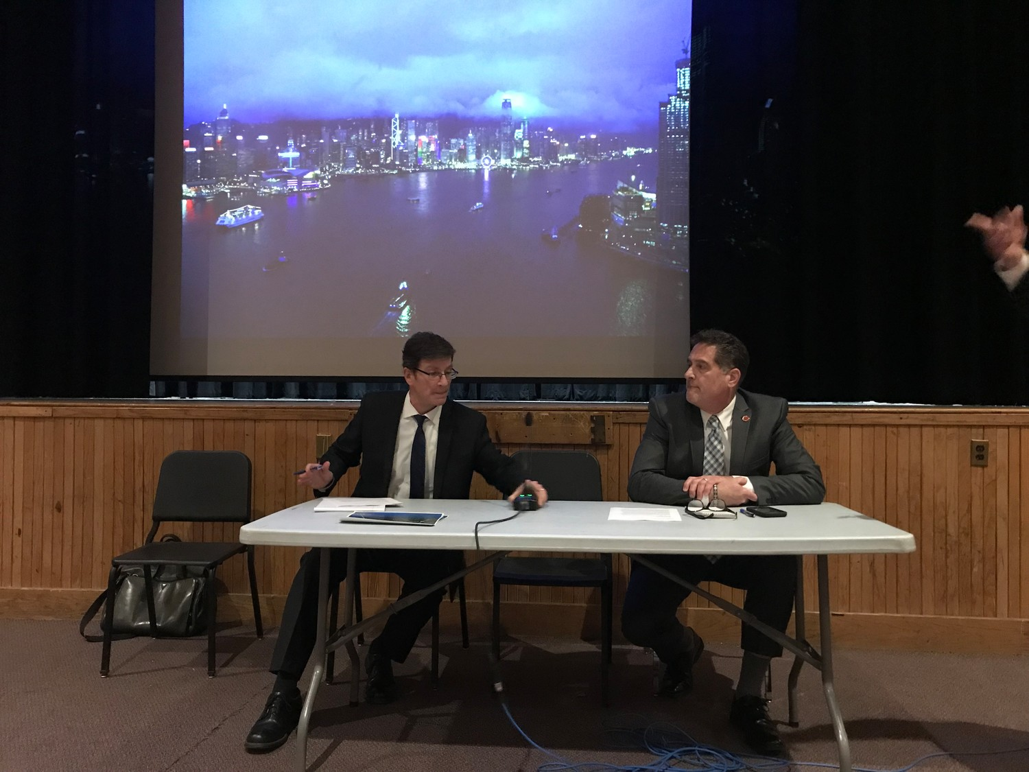 Jim Tierney, the deputy commissioner for water resources for the DEC, left, and Brian Schneider, the county's deputy executive for parks and public works, addressed questions and concerns from South Shore residents during a meeting on Feb. 28 at Wantagh High School.