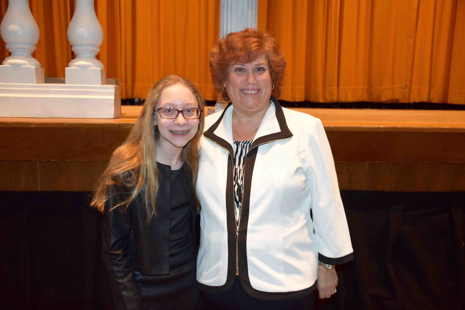 Lynbrook South Middle School student Rachel Edelstein, left, was presented with the Honorary Life Membership Award by Lynbrook SEPTA member Mindy Ross-Knaster during the ceremony.