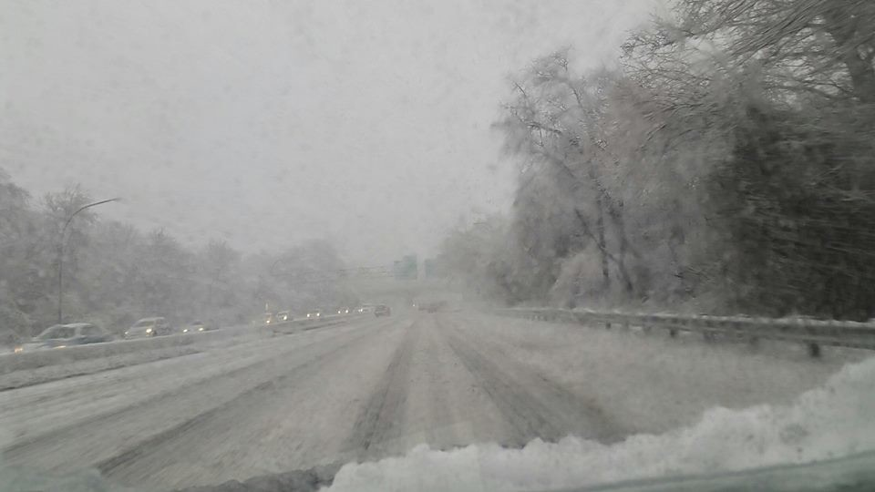 Drivers faced extremely treacherous conditions on the Meadowbrook Parkway.
