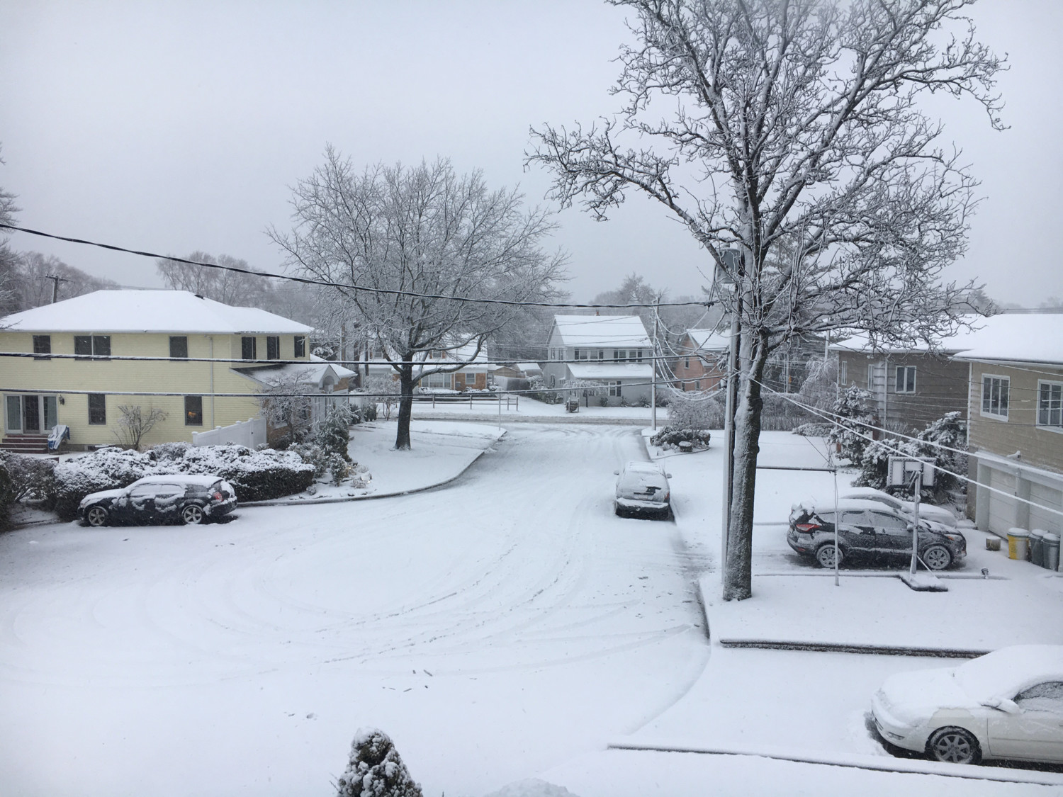 Nearly 3 inches of snow fee at JFK Airport on March 7. Above, Howe Court in Woodmere on that Wednesday.
