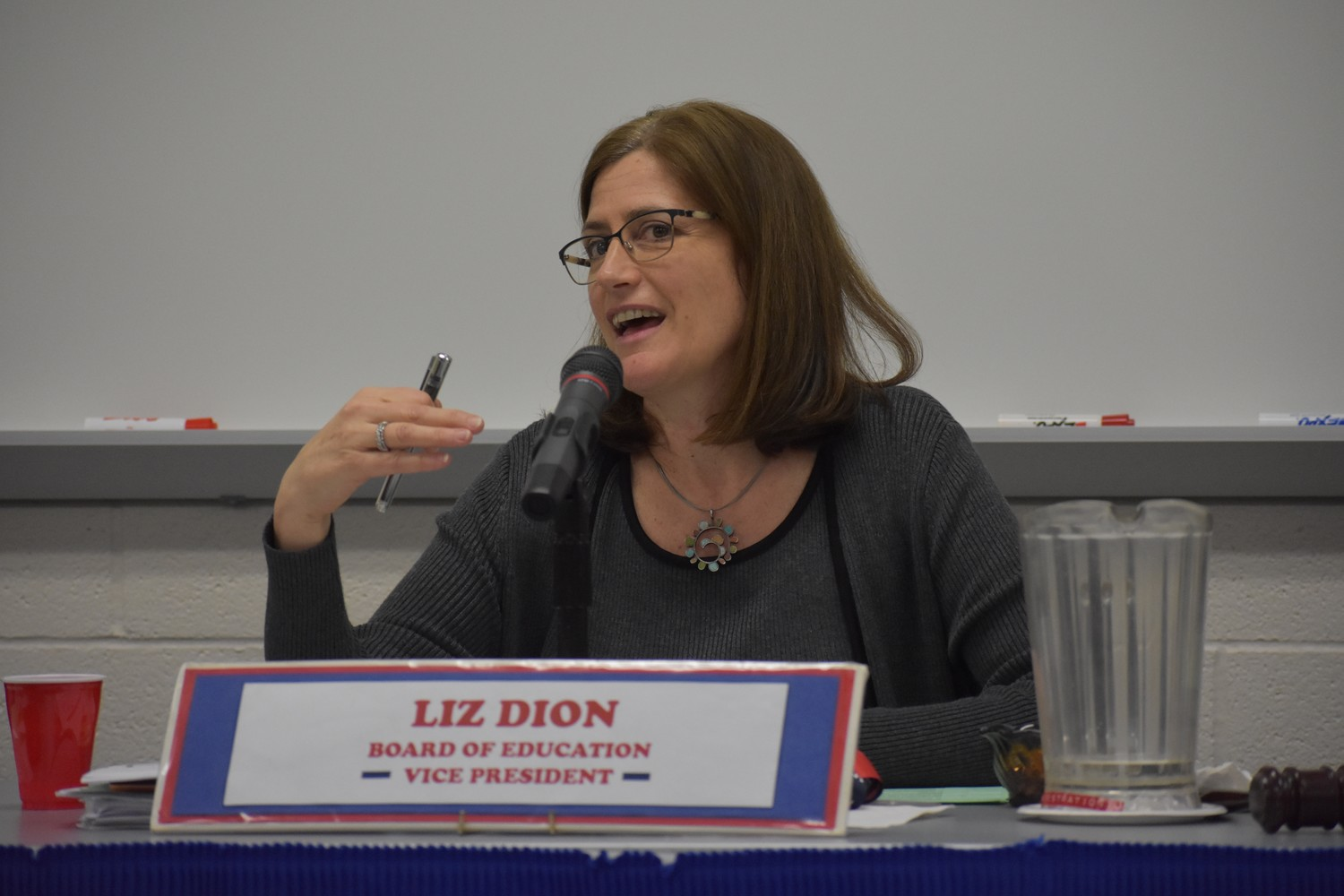 Liz Dion, vice president of the Board of Education, voiced support for the walkout during a meeting on Feb. 28.