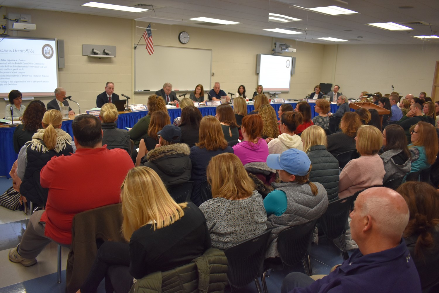 About 100 people packed into South Side High School's common room on Feb. 28 for a Board of Education meeting that focused on existing safety measures and future security enhancements.