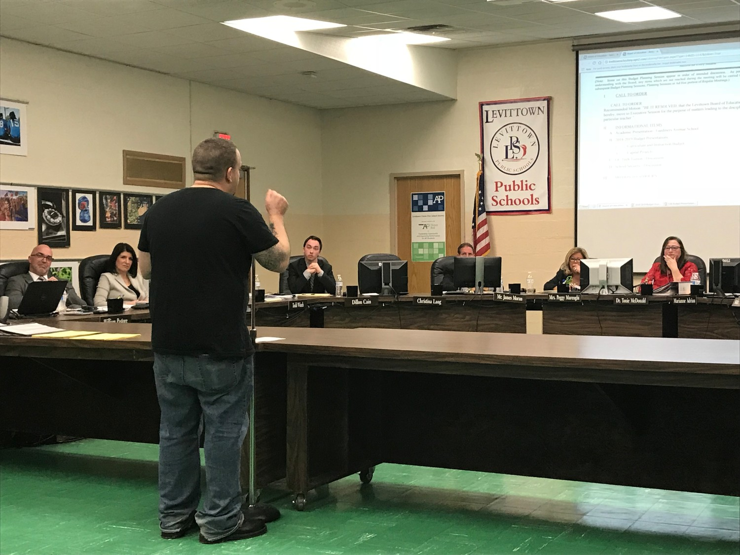 Mark Kerchman, of Levittown, spoke at length, demanding more security for students, at the Feb. 28 Levittown school board meeting.