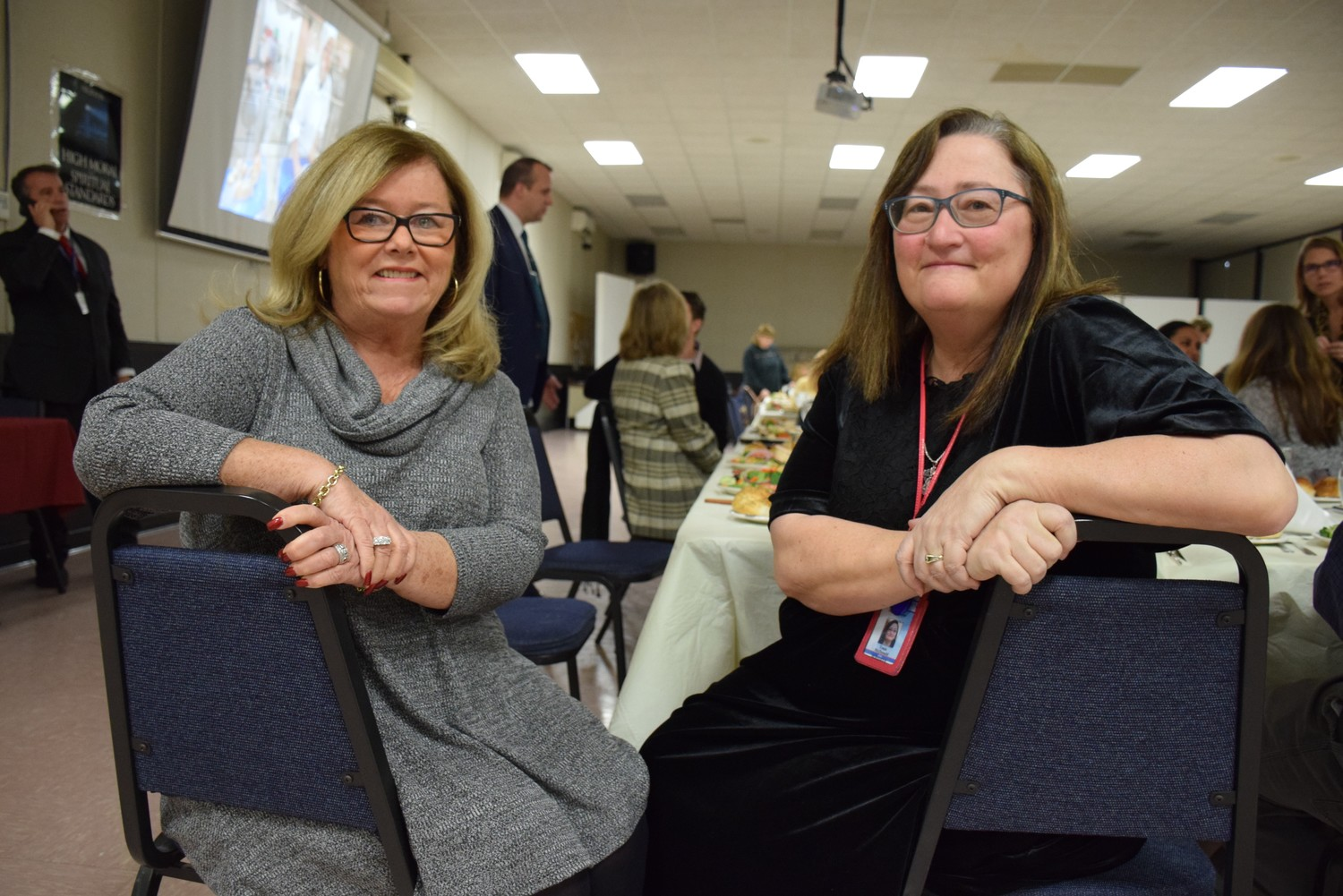 Levittown Public Schools Board of Education President Peggy Marenghi, left, and Superintendent of Schools Dr. Tonie McDonald, right, were among those who discussed the 2018-19 budget on Feb. 28.
