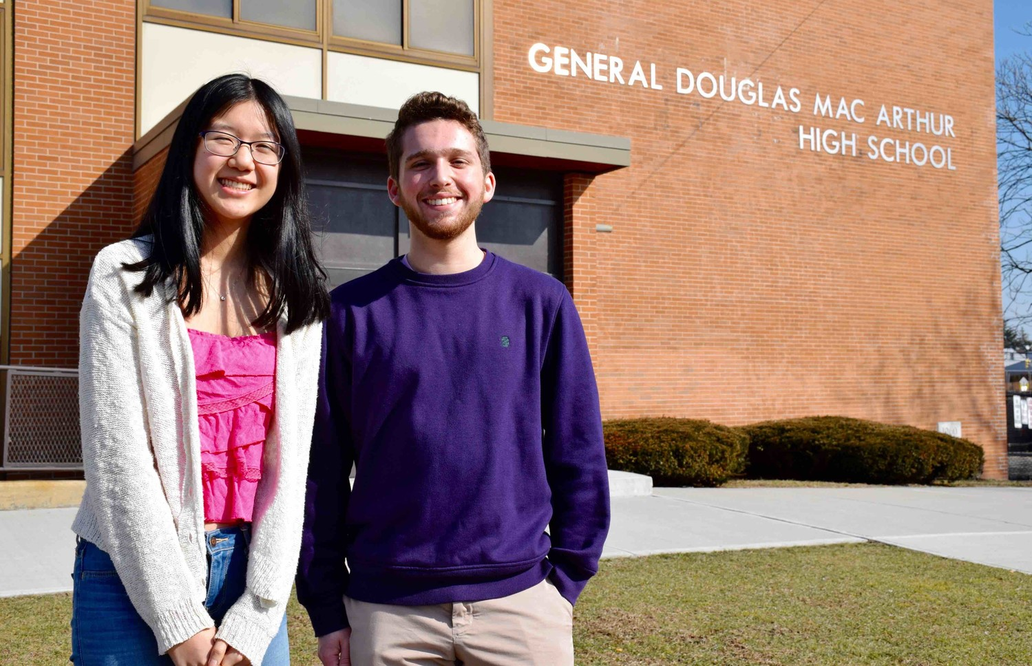 General Douglas MacArthur High School seniors Helen Zhang (left) and Jared Schwartz (right) were recognized as finalists in the National Merit Scholarship Program.