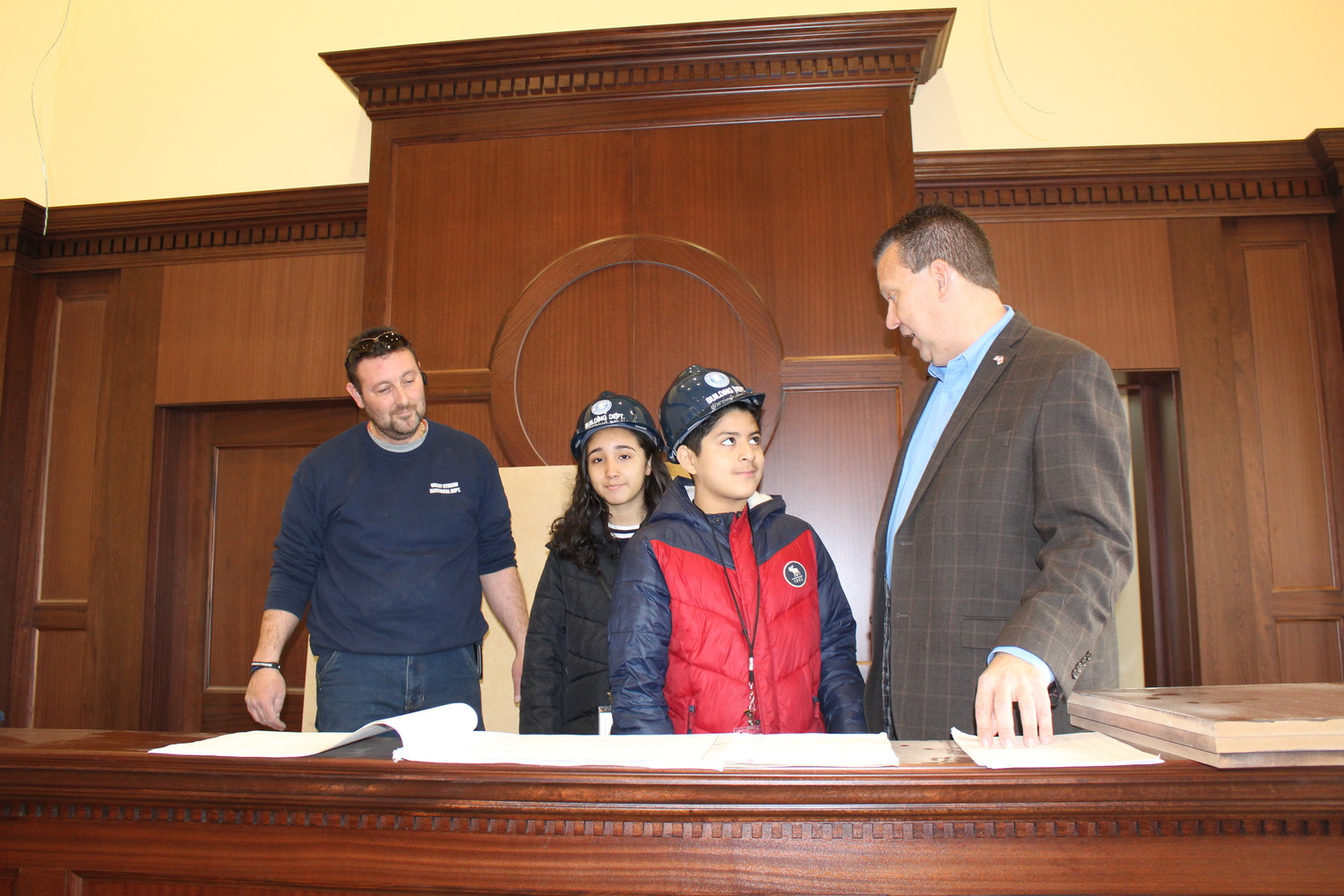 Mayor Fare hosts Rose Rodriguez (center left) and Daniel Paz at the recent Mayor-for-a-Day event.