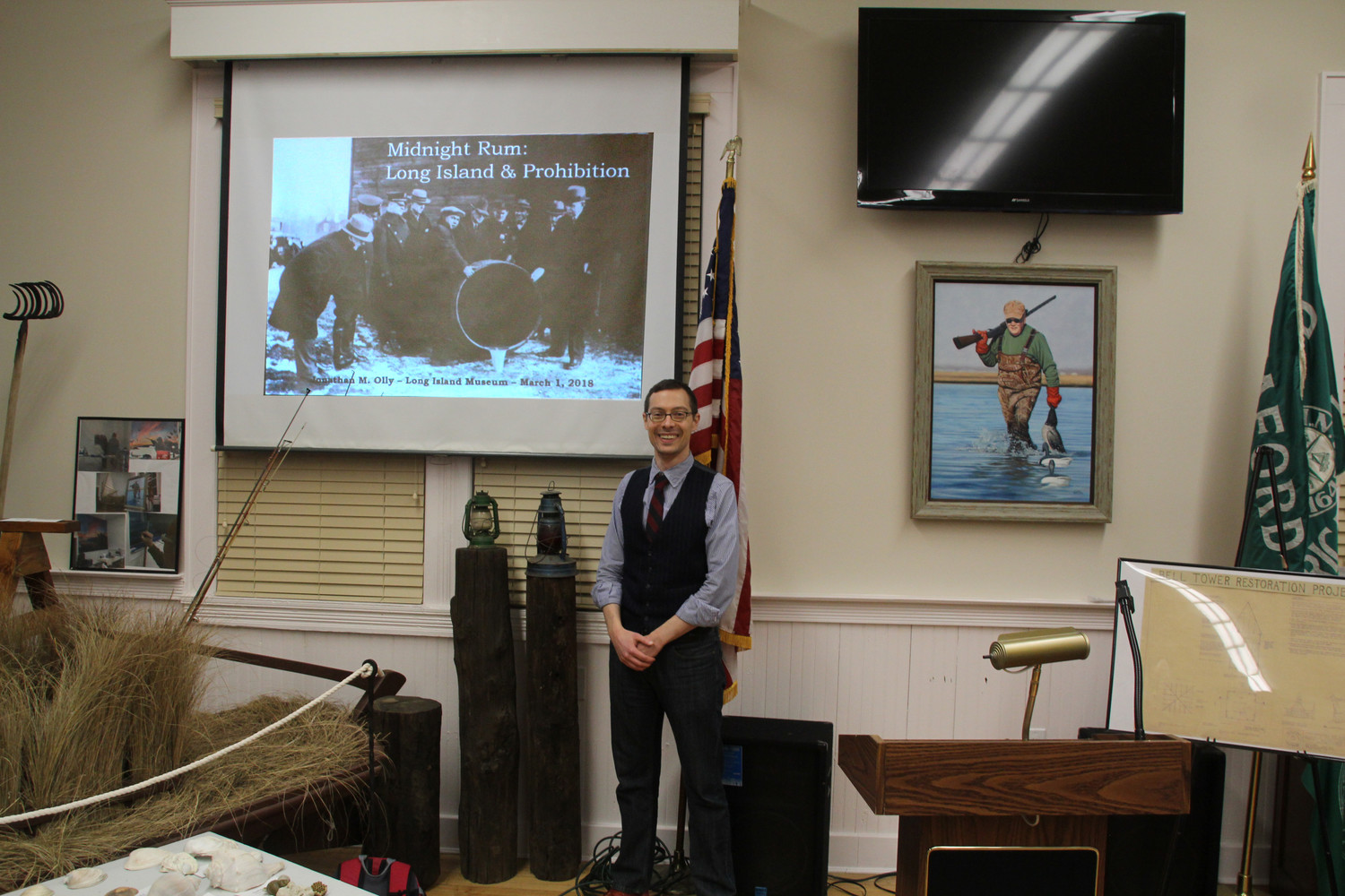 Jonathan Olly, PH.D (from Port Jefferson, N.Y.) Asst. Curator Long Island Museum spoke at the Seaford Historical Society.