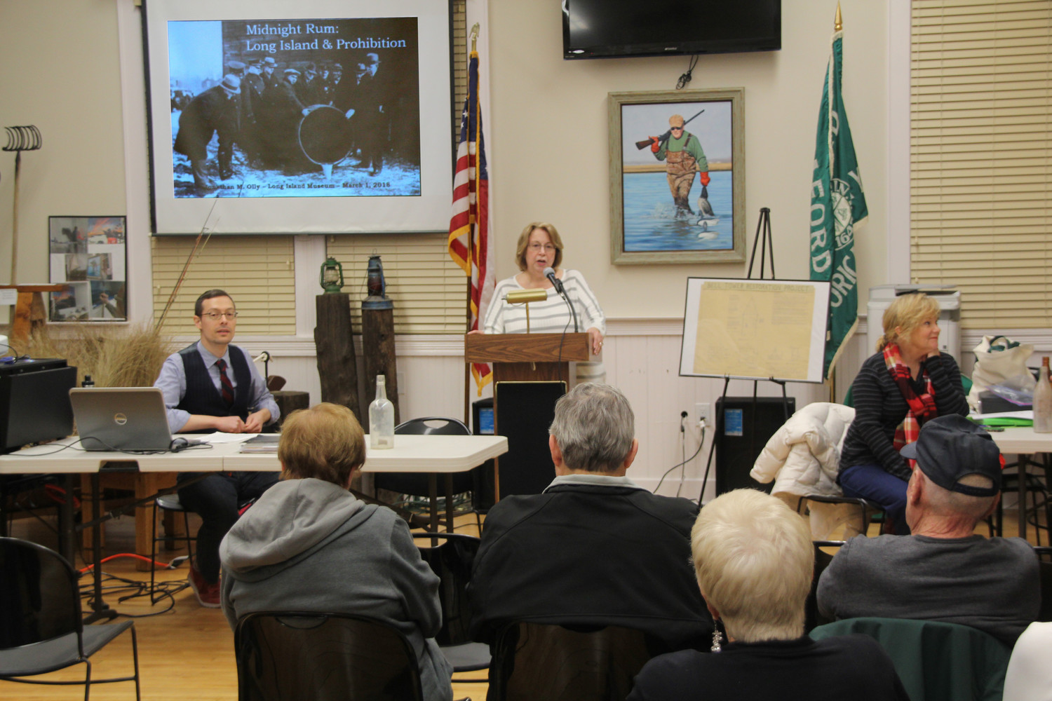 Judy Bongiovi, President - Seaford Historical Society addresses the audience.