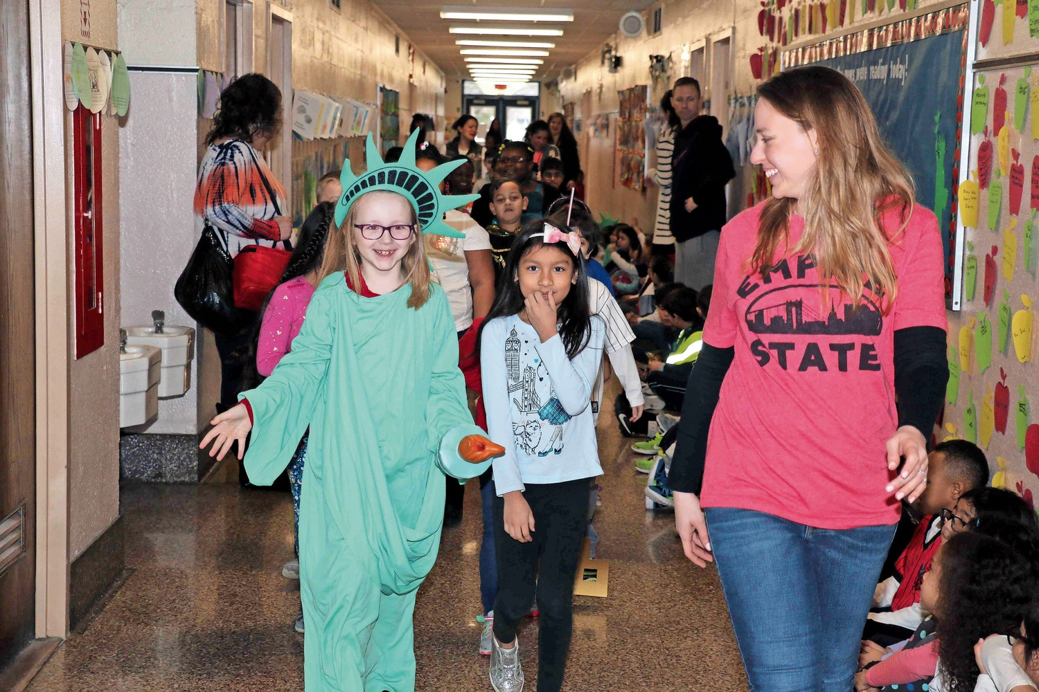 "Some students were in an ""Empire State"" of mind as the Statue of Liberty made her way through the halls."