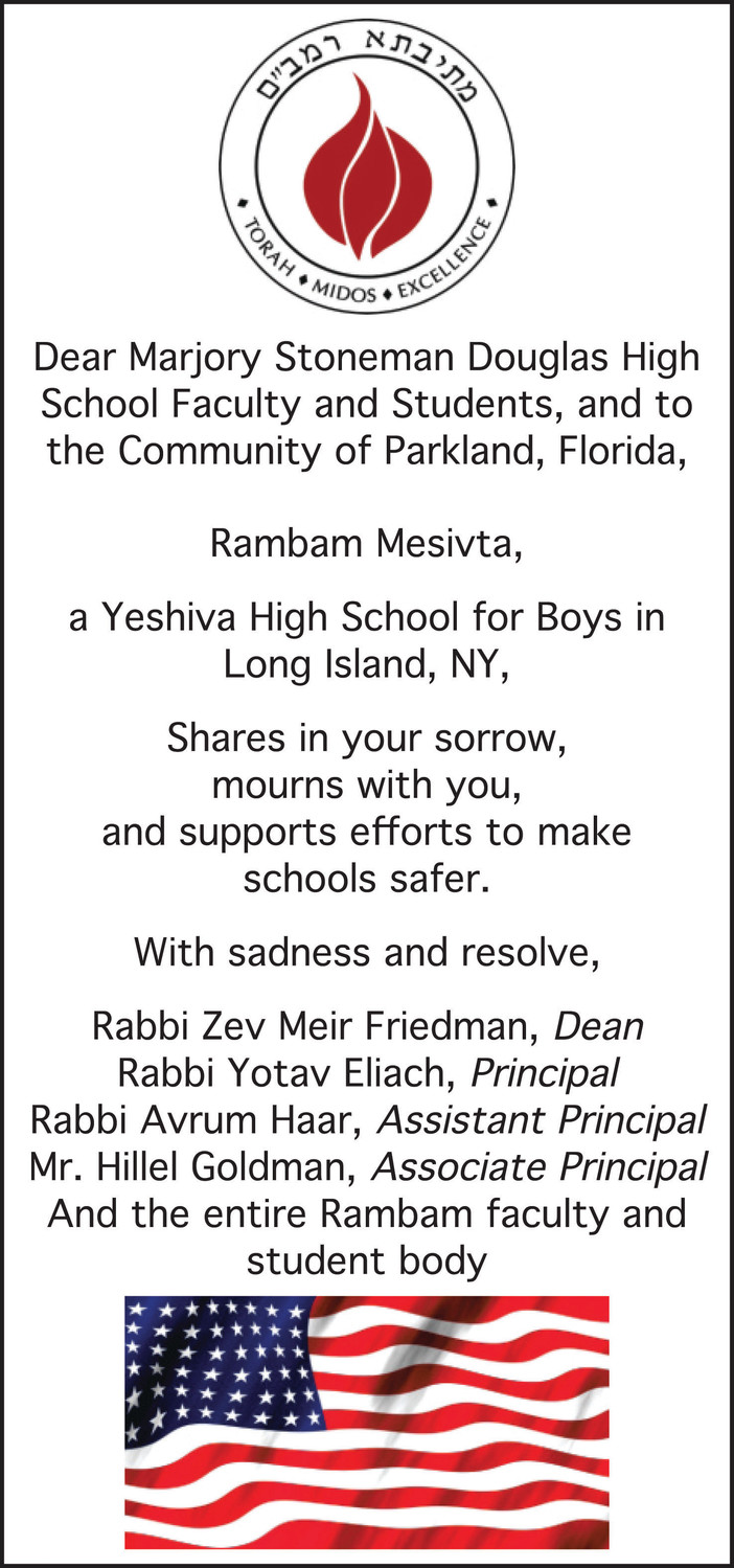 Rambam Mesivta High School students helped pay for a half-page ad in Florida's Sun-Sentinel newspaper to show support for Majority Stoneman Douglas High.