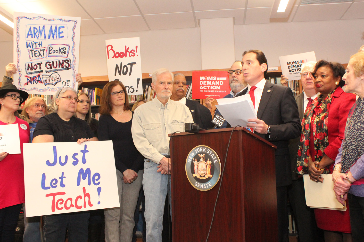 State Sen. Todd Kaminsky joined other Democratic senators, students, teachers and community members on March 3 at South Side High School in Rockville Centre to announce a proposed bill that would prohibit teachers from carrying guns in school.