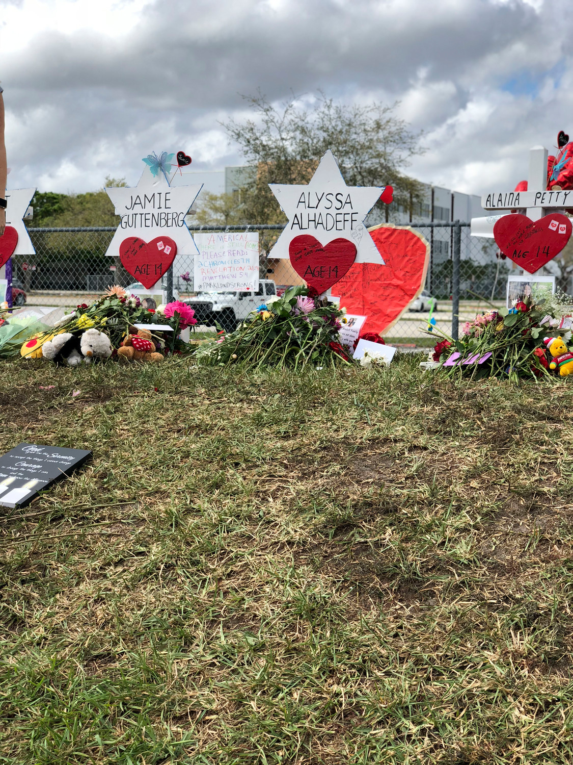 A vigil at Marjory Stoneman Douglas High School after the shooting on Feb. 14 in which 17 people died.