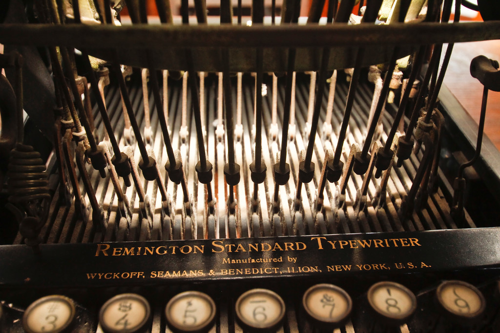 A Remington typewriter in the Gun Room.