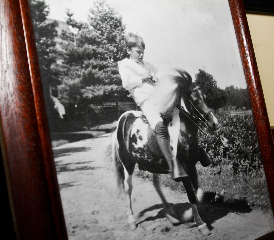 A photo of Quentin riding his horse hangs in the Boy's Room. All of the Roosevelt children had a horse.