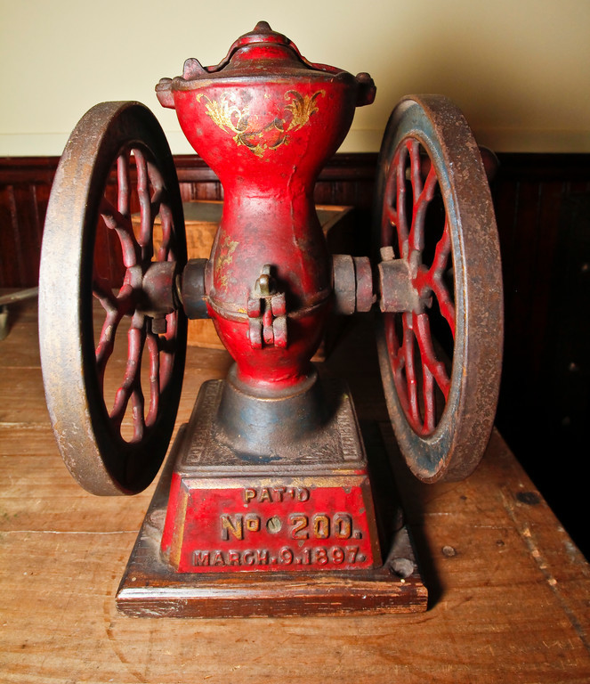 A historic coffee grinder.