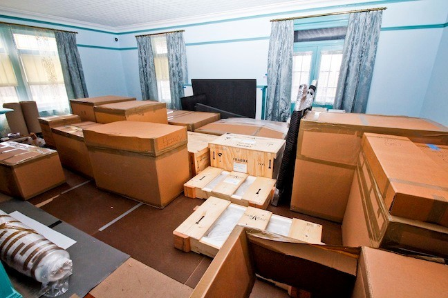 April 2015. The Drawing Room is full of boxes and crates that hold objects that will be unpacked and placed back in the rooms throughout the house.