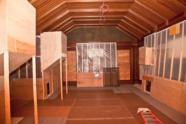 May 2013.  The North Room, fondly referred to as the Trophy Room, has been emptied of all contents, and anything that could not be moved was protected. The bison and elk were too big to safely move so they were encased in protective wood coverings.