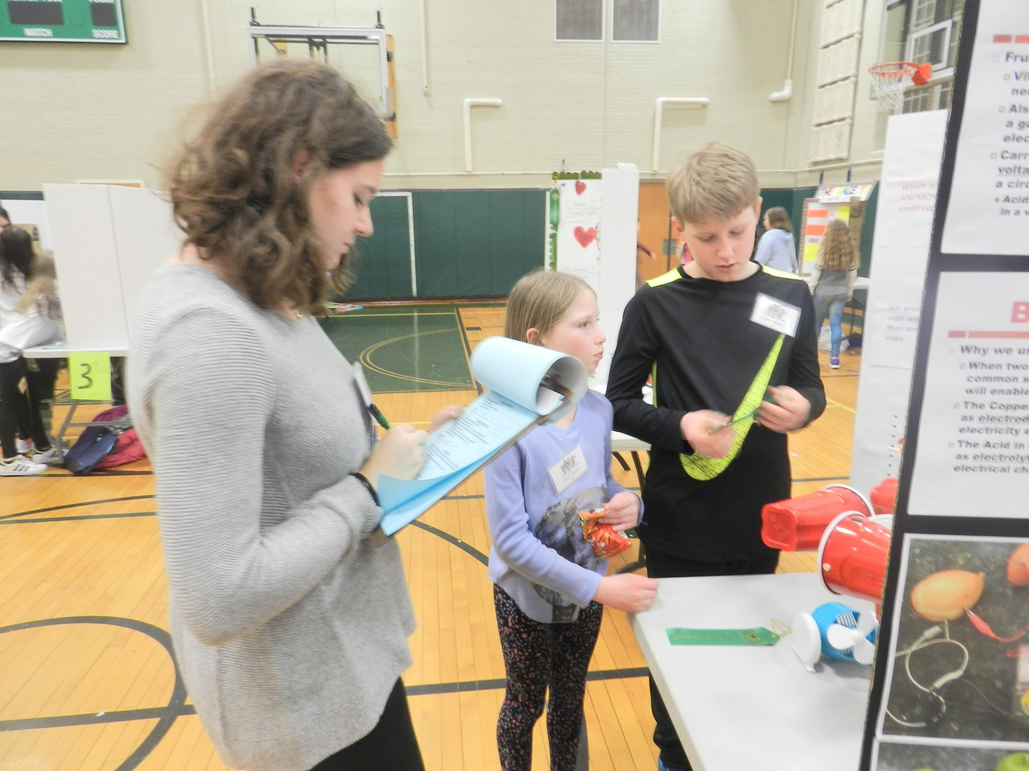 Members of Locust Valley High School's science research program judged the elementary school projects.
