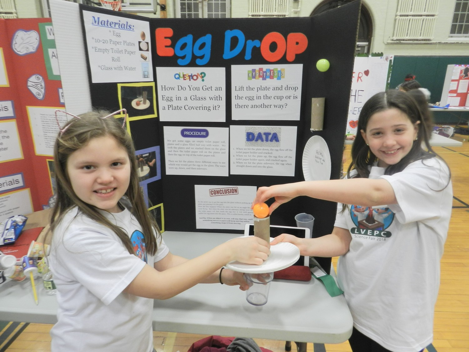 Rylee Finn, left, and Mia Dessner's egg drop project tested the laws of inertia.