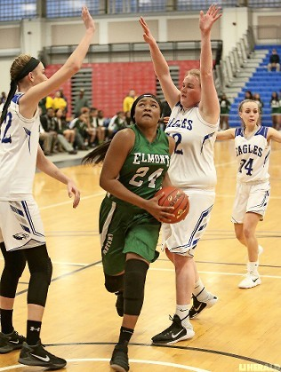 Senior Kem Nwabudu, center, scored 14 points in Elmont's 56-30 victory over Hauppauge in the Long Island Class A title game on March 8 at Suffolk Community College in Brentwood.