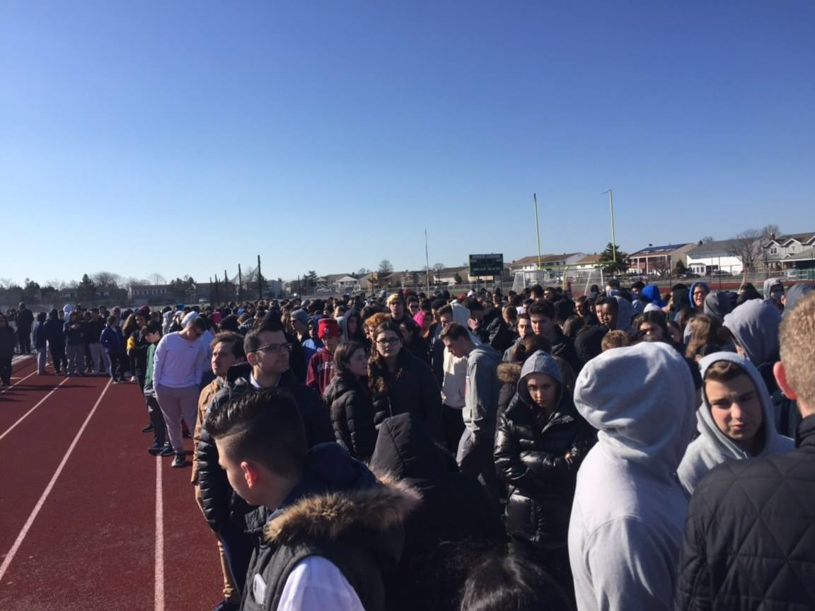Dozens of students walked out of class at Kennedy High School in Bellmore on March 14 to remember the victims of Marjory Stoneman Douglas High School and to call for stricter gun controls.