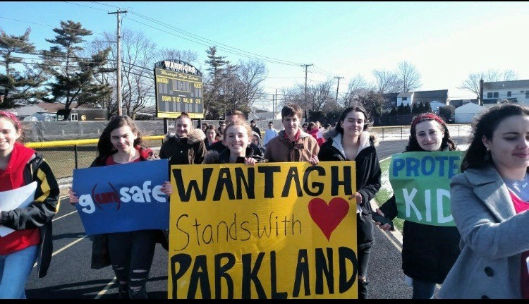 Wantagh High School students expressed their solidarity with the students of Marjory Stoneman Douglas High School during Wednesday's walkout. The event was part of a national walkout that took place at 10 a.m.