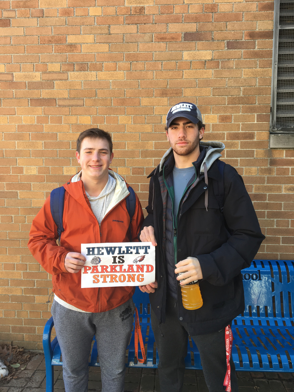 Alexander Vardaro, Left, and Harrison Salow, at the Hewlett High School walkout.