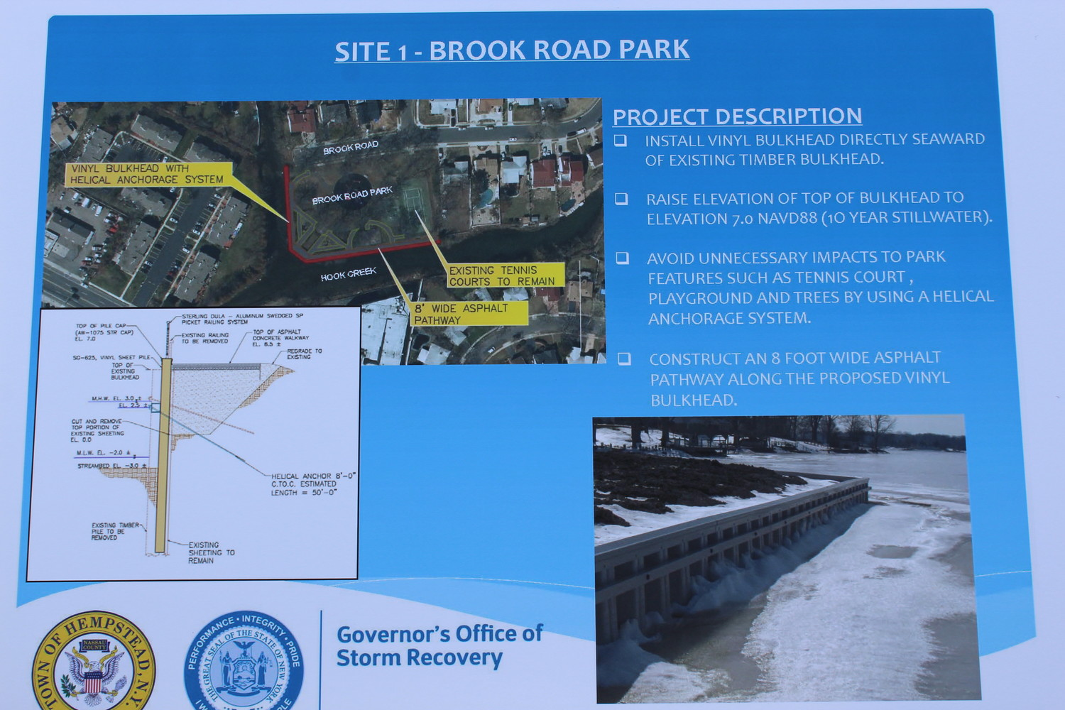 A sign detailed the scope of the Governor's Office of Storm Recovery's project.