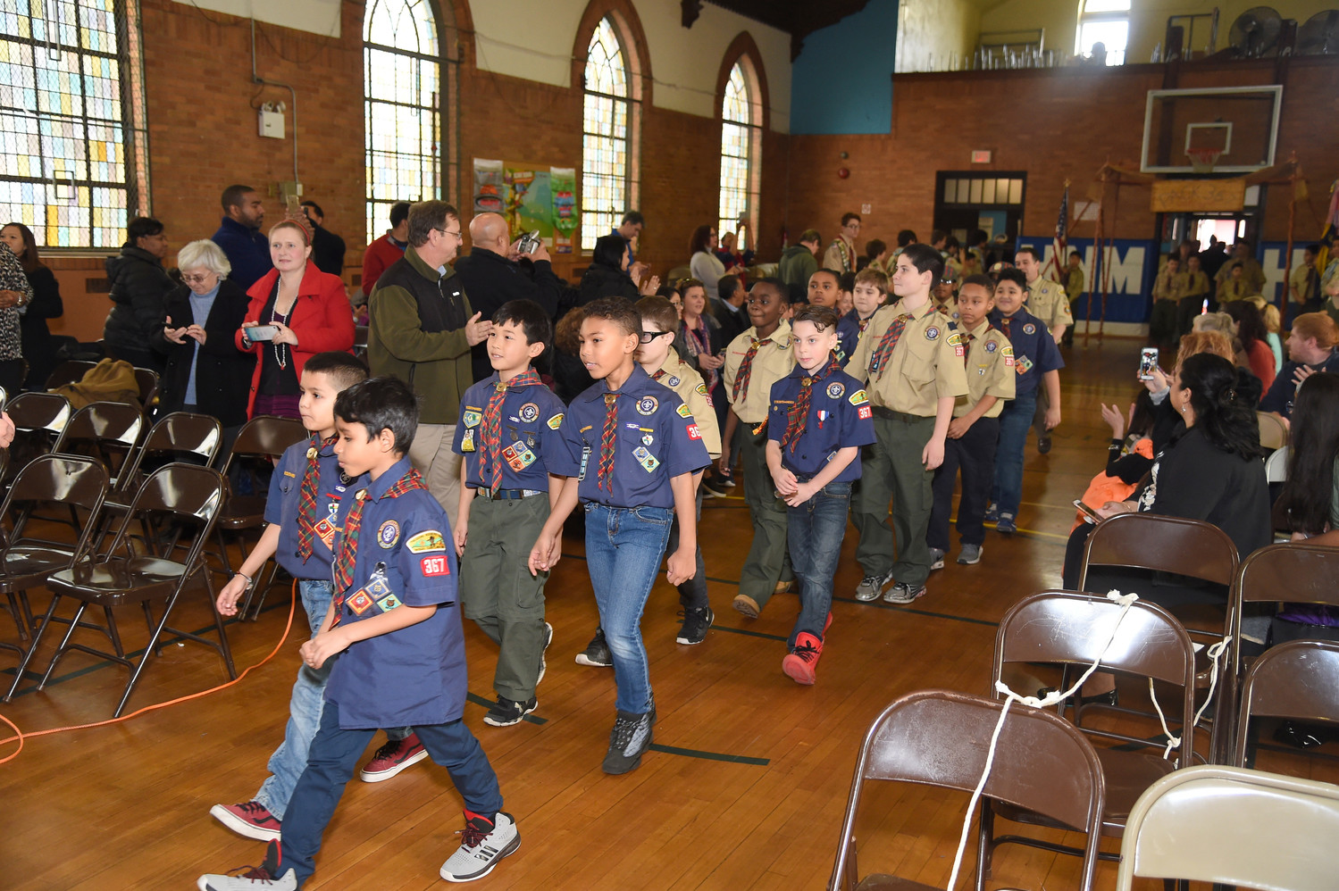 Cub Scouts in Webelos Den 1 walked into the Blue and Gold ceremony.